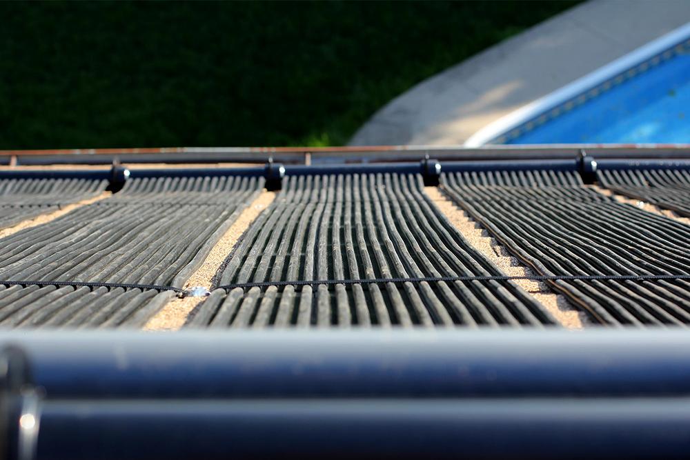 Close up of Terranovasolar swimming pool heating panels.
