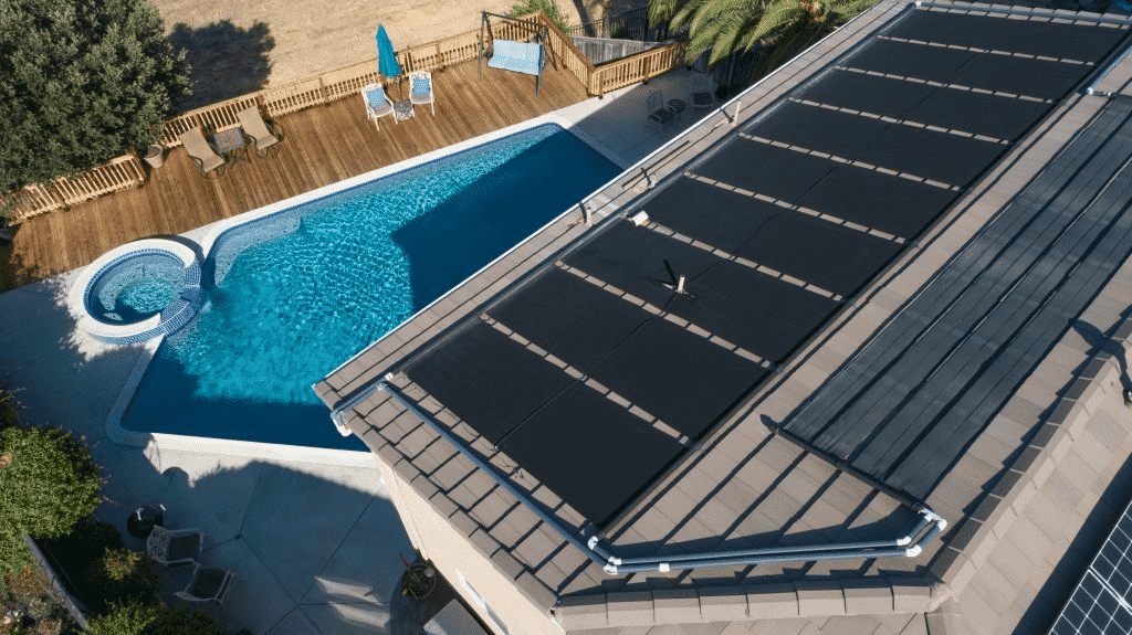 Terranovasolar swimming pool heating panels installed on a roof.